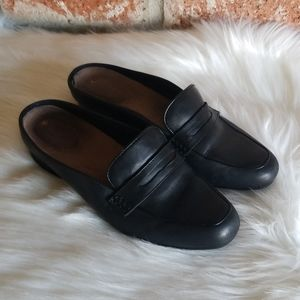 Clarks black leather penny loafer mules